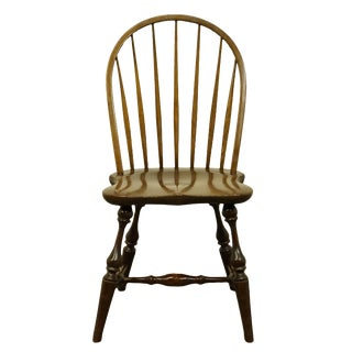 Stickley Furniture Solid Walnut Windsor Style Bow Back Side Chair For Sale