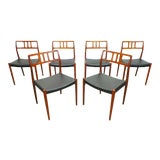 Image of Mid Century Danish Modern Teak j.l. Moller Model 79 Black Leather Dining Chairs- 6 Pieces For Sale