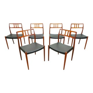 Mid Century Danish Modern Teak j.l. Moller Model 79 Black Leather Dining Chairs- 6 Pieces For Sale