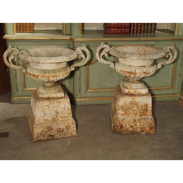 Pair of Antique Cast Iron Vases on Pedestals From Besancon France, Circa 1915 For Sale - Image 13 of 13