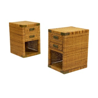 1970s Vintage Rattan Nightstands-a Pair For Sale