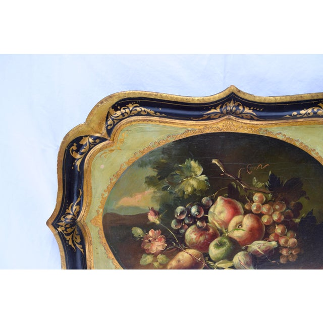 Florentine Gilt Tole Fruits Motif Tray For Sale - Image 4 of 8