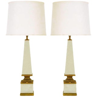 Pair of Venetian Mirrored Obelisk and Giltwood Table Lamps For Sale