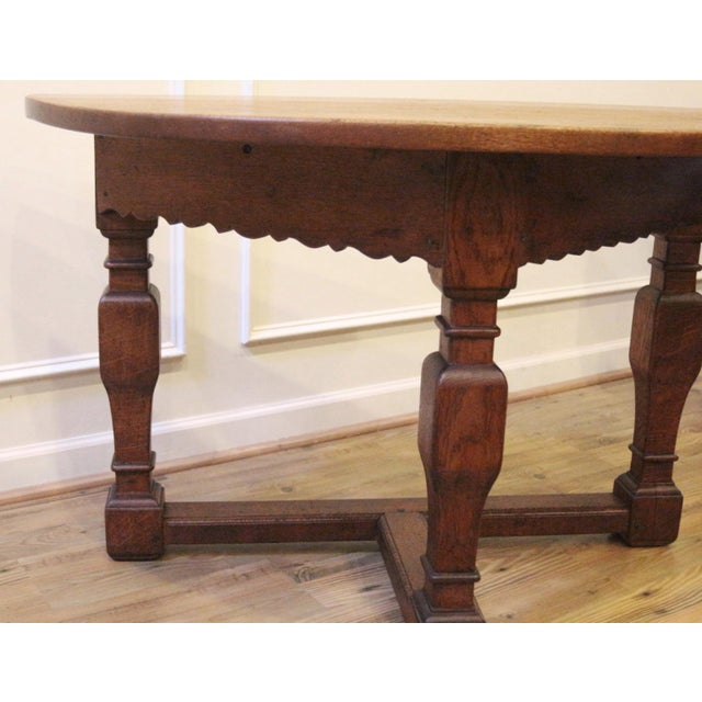 Late 19th Century 19th Century Country Oak Demi Lune Console Tables - a Pair For Sale - Image 5 of 11