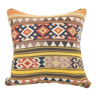"Antique Turkish Kilim Pillow 18""x18"" For Sale"