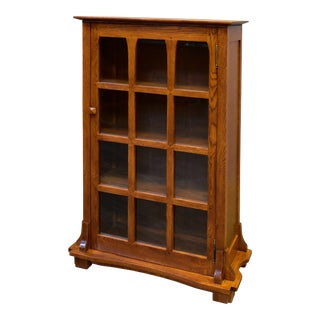 Mission Solid Oak Display Bookcase For Sale
