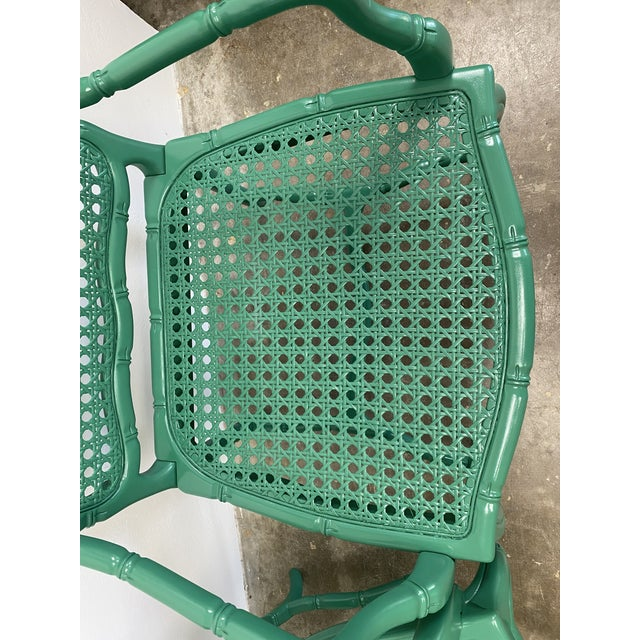 Vintage Green Lacquered Cane Chairs - a Pair For Sale - Image 4 of 13
