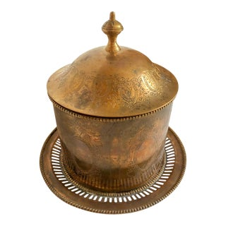 Footed Brass Round Box For Sale
