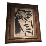 Image of 1960s Peter Keil Abstract Face Painting Sketch For Sale