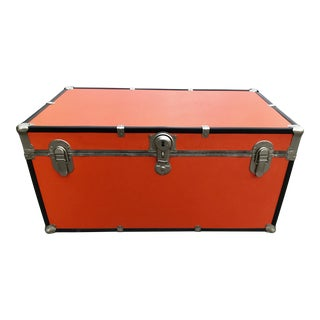 1980s Mid-Century Modern Orange Storage Trunk For Sale