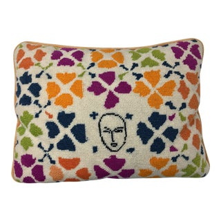 Late 20th Century Vintage Boho Chic Needlepoint Pillow For Sale