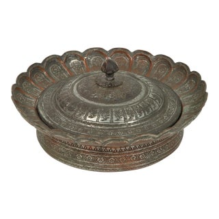 Decorative Tinned Copper Persian Box With Lid For Sale