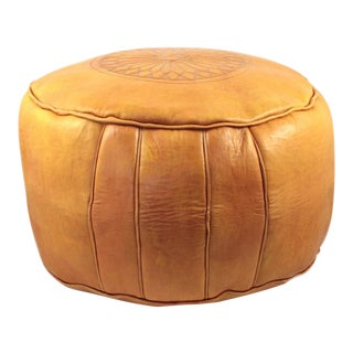 Yellow Moroccan Leather Ottoman For Sale