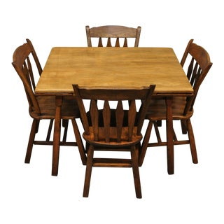 Vintage American Rock Maple Colonial 5 Pc Dining Set For Sale