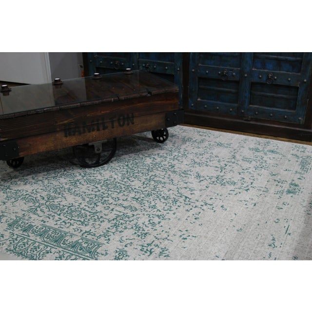 """Teal Distressed Patterned Rug - 8'x10'7"""" - Image 5 of 7"""