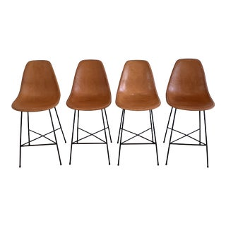 Sol Y Luna Leather Counter Stools For Sale
