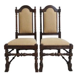 Ethan Allen Charter Oak Jacobean Dining Chairs - A Pair