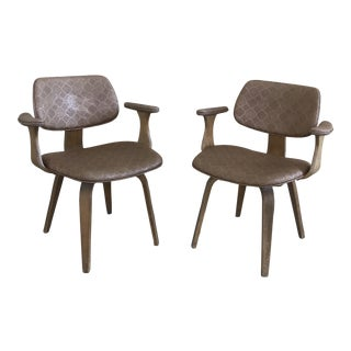 Mid-Century Modern Vinyl Bentwood Swivel Armchairs by Thonet - a Pair For Sale