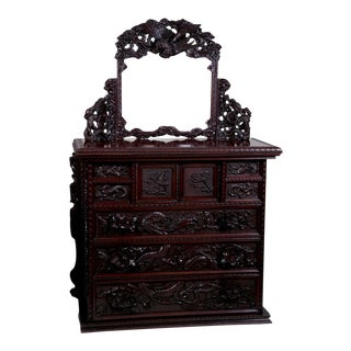 Mid 19th Century Japanese Carved Chest & Mirror For Sale