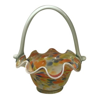 Vintage Hand Blown Art Glass Multi-Color Brida Basket For Sale