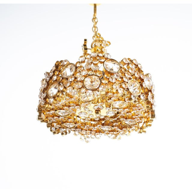Palwa Crystal Glass Gold-Plated Brass Chandelier Refurbished Lamp For Sale - Image 6 of 12