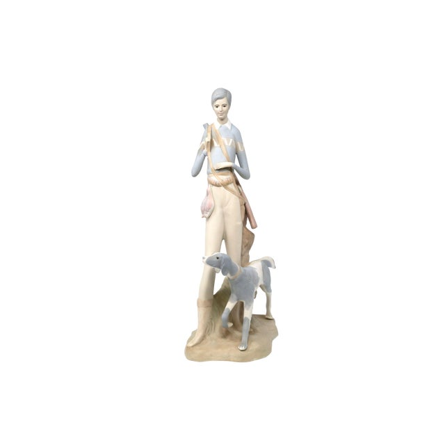 Vintage Tall Hunting Girl With Dog Figurine by Porceval For Sale