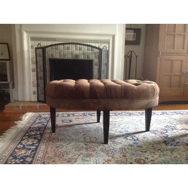 Contemporary Tufted Oval Ottoman - Image 4 of 5