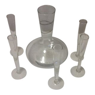 Silver Swirl Glass Decanter & Aperitif Stem Glasses - Set of 6 For Sale