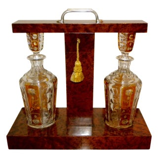 Art Deco Tantalus Set With Cut Crystal Decanters For Sale