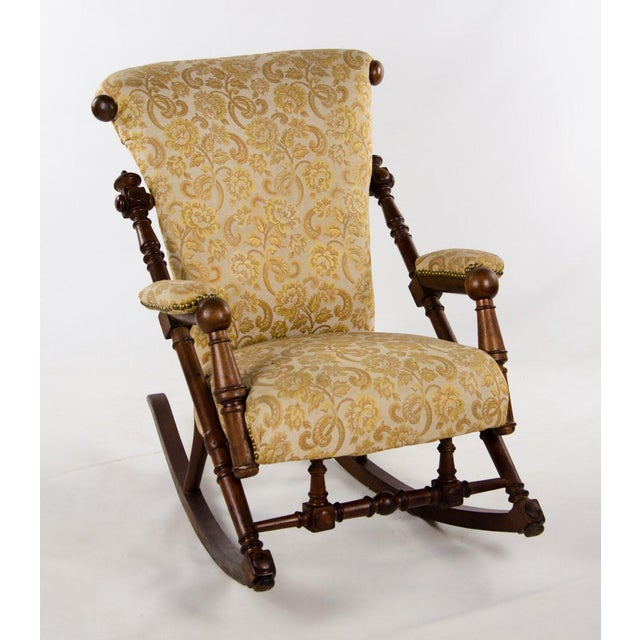 Late 19th Century Victorian Style Floral Upholstered Walnut Rocking Chair For Sale - Image 13 of 13