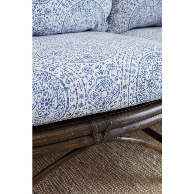 Late 20th Century McGuire Blue and White Upholstered Bamboo Rattan Sofa For Sale - Image 5 of 12