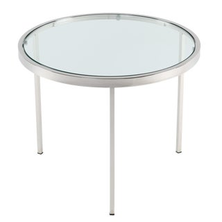 1970's VINTAGE MILO BAUGHMAN ROUND CHROME SIDE TABLE For Sale