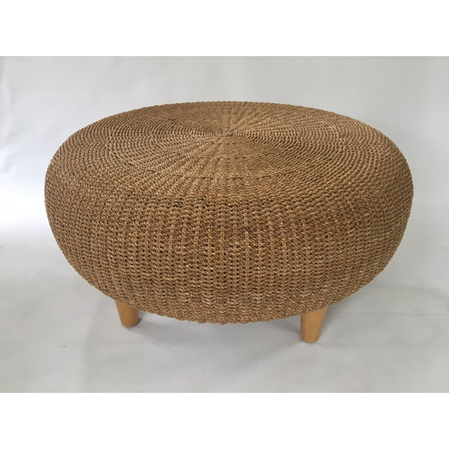 Round Wicker Coffee Table With Stools: Round Woven Rattan & Wicker Ottoman / Coffee Table