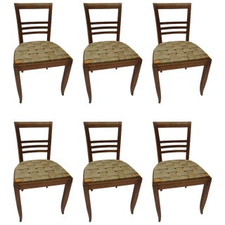 Set of Six French Oak Chairs With Seagrass Seats For Sale