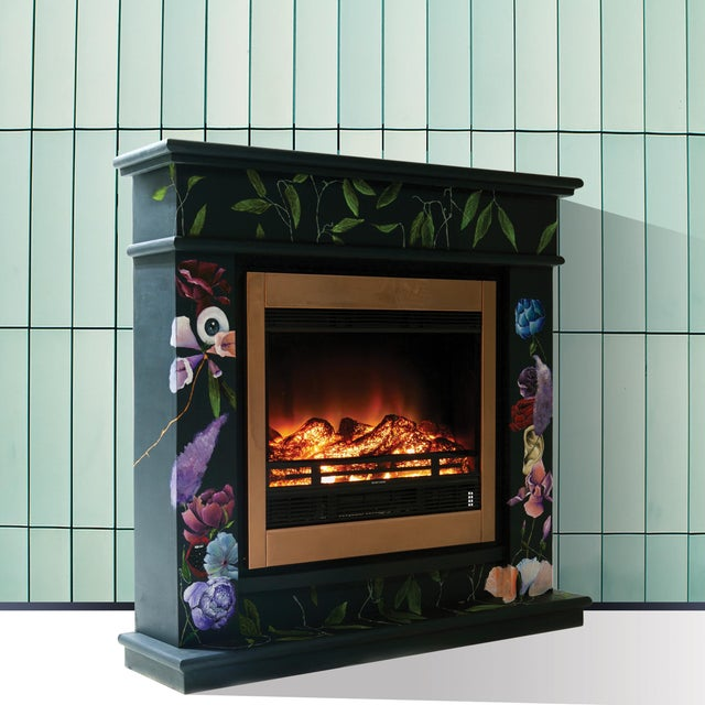 This imposing hand-painted electric fireplace is designed by Atelier MIRU. The freestanding fireplace is executed in wood,...
