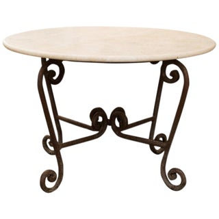 Stone and Iron Centre Table For Sale