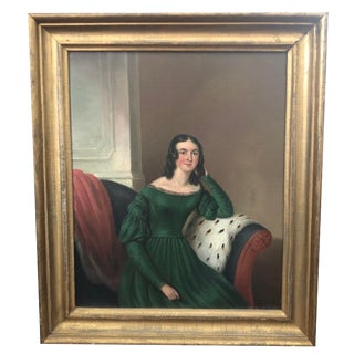 19th Century Antique American Portrait of a Lady Oil on Canvas Painting For Sale