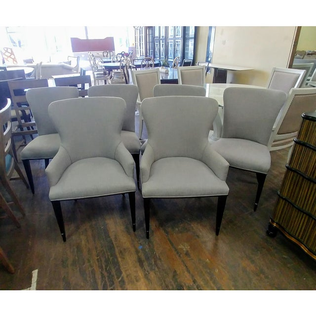 Henredon Furniture Barbara Barry Bowmont Light Grey Dining Chairs - Set of 6 For Sale - Image 11 of 13