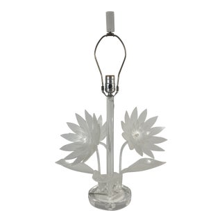 Signed Van Teal Lucite Flowers Table Lamp For Sale
