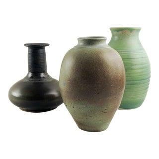 Studio Pottery Vase Group - Set of 3 For Sale