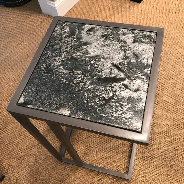 Contemporary Alder & Tweed Marble Top End Table For Sale - Image 4 of 5