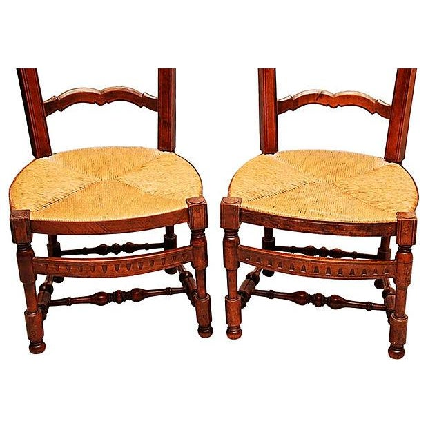French Country French Side Chairs - Pair For Sale - Image 3 of 10