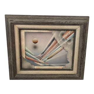 1980s Surrealist Style Mixed-Media Painting, Framed For Sale