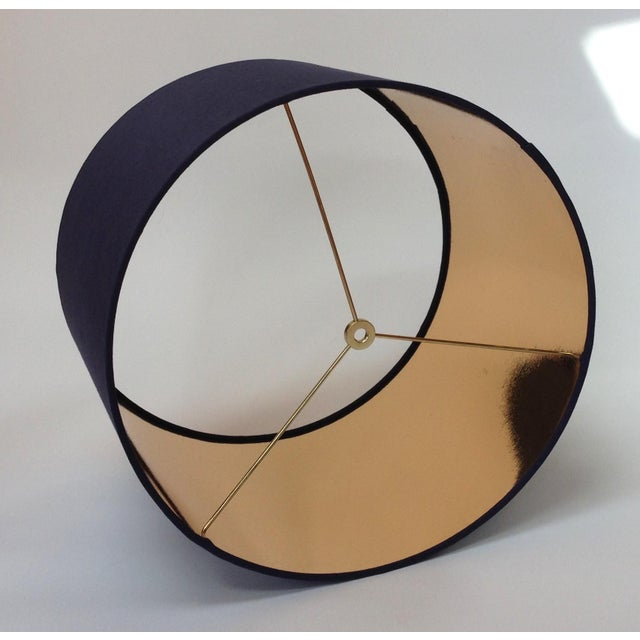 Contemporary Black High Gloss Drum Lamp Shade With Gold Lining For Sale - Image 3 of 6