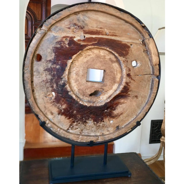 Industrial Modern Art Sculpture Made From Antique Grist Mill Grinding Wheel Disc Industrial Chic For Sale - Image 3 of 5