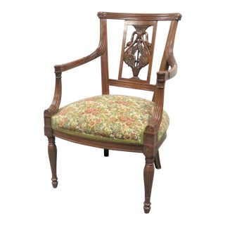 Italian Style Walnut Swan Carved Chair For Sale