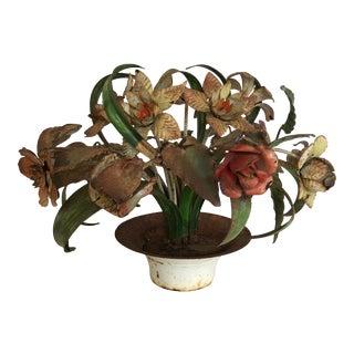 Vintage Italy Tole Flower Pot Centerpiece For Sale