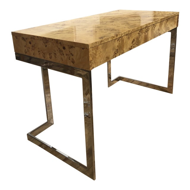 Mid-Century Burlwood Desk by Milo Baughman For Sale