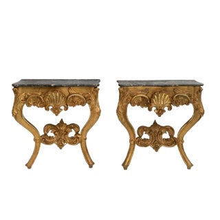 Louis XV Style Marble Top Gilt Consoles - a Pair