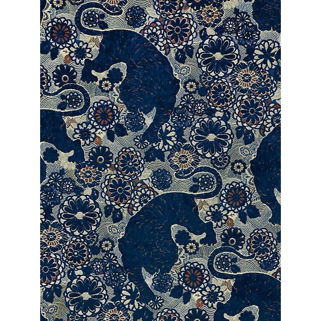 Chinoiserie Sample, Scalamandre Siberian Tiger, Sapphire Flame Fabric For Sale - Image 3 of 3